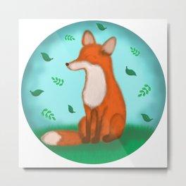 Fox and leaves Metal Print