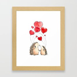 Hedgehogs in Love, illustration of hedgehog sweethearts with balloons. Framed Art Print