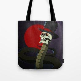 Top Hat Snake Skull Tote Bag