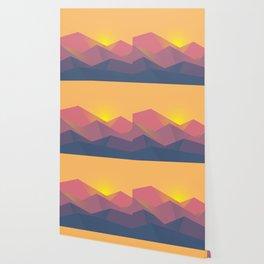 Mountain Sunset Illustration Wallpaper