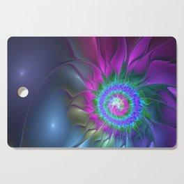 Flourish Abstract Fractal, Colorful Luminous Fantasy Cutting Board