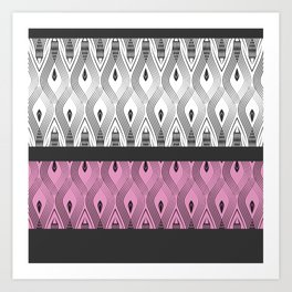 Art Deco 55 . White black and pink textures . Art Print