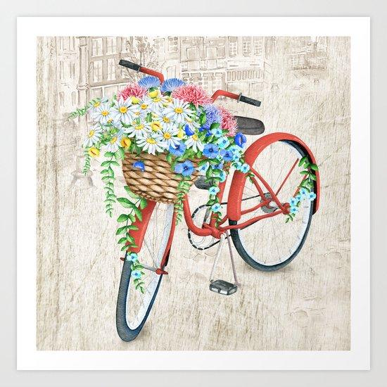 Red bike & white daisy Art Print