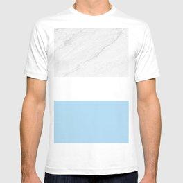 Marble Sky Blue White Color Block Modern Geometry T-shirt
