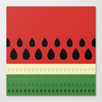 watermelon Canvas Prints featuring watermelon by ValoValo