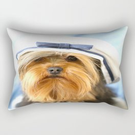 Little Sailor Yorkshireterrier With Sailor Hat #decor #society6 Rectangular Pillow