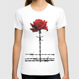 Barbed wire red rose T-shirt