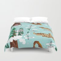 parks Duvet Covers featuring National Parks by Julie's Fabrics & Thingummies