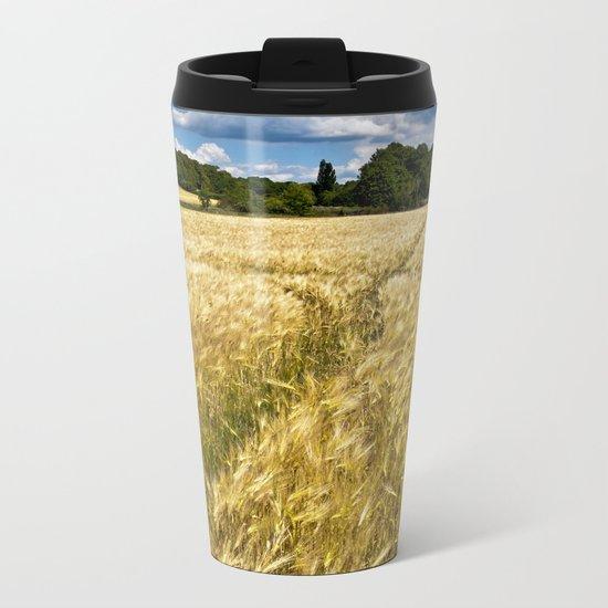 Golden wheat field poetry Metal Travel Mug