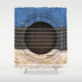 Old Vintage Acoustic Guitar with Estonian Flag Shower Curtain