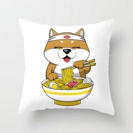 Shiba Inu Eating Ramen  Throw Pillow