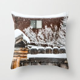 Snow House Throw Pillow
