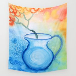 Cherry flowers in the blue jug Wall Tapestry