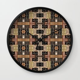 Runic Carved Wood Effect Tribal Pattern Wall Clock