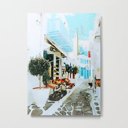 Quiet Street at MyKonos Metal Print