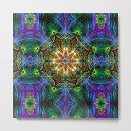 Neon Mandala Metal Print