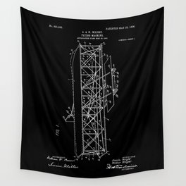 Wright Brothers Patent: Flying Machine - White on Black Wall Tapestry