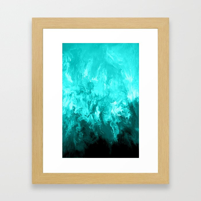 Teal - Fluid Abstract Art Framed Art Print