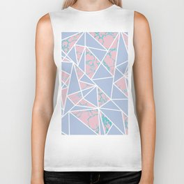Geometric pastel blue coral abstract triangles marble Biker Tank