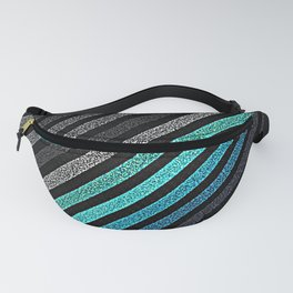 stripeS : Slate Gray Teal Blue Pixels Fanny Pack
