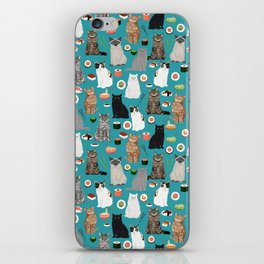 Cat Sushi pattern by pet friendly cute cat gifts for pet lovers foodies kitchen iPhone Skin