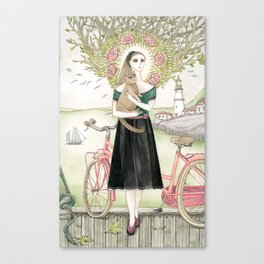 Girl and cat with pink bicycle Canvas Print