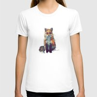 animal crew T-shirts featuring Fox by Amy Hamilton