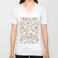 flowers V-neck T-shirts featuring Ditsy Flowers by Poppy & Red
