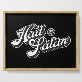 Hail Satan - Grayscale pop vintage letters Serving Tray