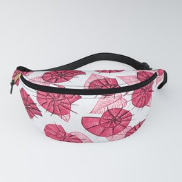 Pink Snails And Leaves Ink Drawn Pattern Fanny Pack