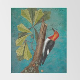Red Headed Woodpecker with Oak, Natural History and Botanical collage Throw Blanket