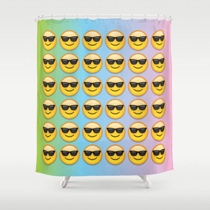 Sunglasses Emoji Shower Curtain