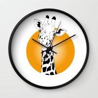 giraffes Wall Clocks featuring giraffes  by Eda ERKOVAN