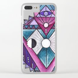 Sacred geometry inspired totem Clear iPhone Case