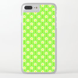 White Flowers On A Green Striped Background Clear iPhone Case