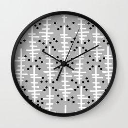 Helo - modern pattern design gift for college dorm decor trendy monochromatic grey neutral bold Wall Clock