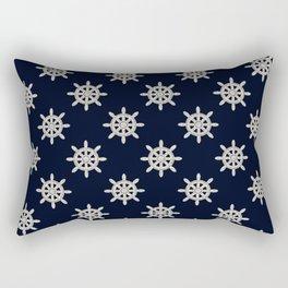 Maritime Design- Nautic Wheel in white on darkblue backround Rectangular Pillow