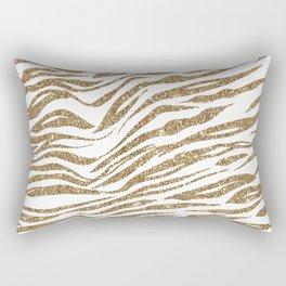 White & Glitter Animal Print Pattern Rectangular Pillow