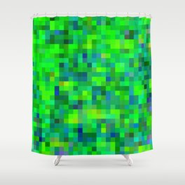 geometric square pixel pattern abstract in green and blue Shower Curtain