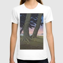 Kawase Hasui Vintage Japanese Woodblock Print Pink Purple Hues Ombre Sunset Through Pine Trees Lands T-shirt