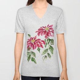 Poinsettias  Unisex V-Neck