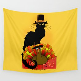 Thanksgiving Le Chat Noir With Turkey Pilgrim Wall Tapestry