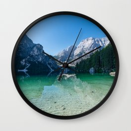 The Seekofel mountain reflected in the clear waters of Lake Braies Wall Clock