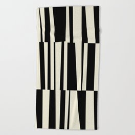 BW Oddities III - Black and White Mid Century Modern Geometric Abstract Beach Towel
