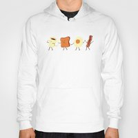 orange pattern Hoodies featuring Let's All Go And Have Breakfast by Teo Zirinis
