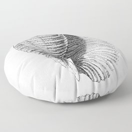 Seashell   Sea Shell   Conch Shell   Black and White   Floor Pillow