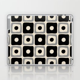 Mid Century Modern Square Dot Pattern 771 Black and Gray Laptop & iPad Skin