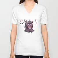 chill V-neck T-shirts featuring CHILL by ThousandPandas