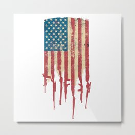 Distressed USA American Flag Made of Guns and Rifles Metal Print