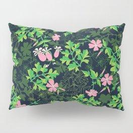 Forest Wildflowers / Dark Background Pillow Sham